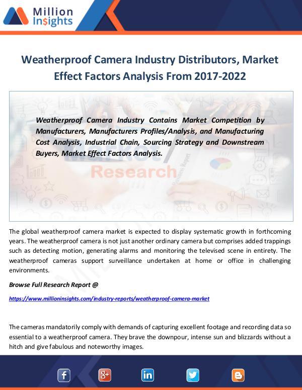 Market Revenue Weatherproof Camera Industry Distributors, Market