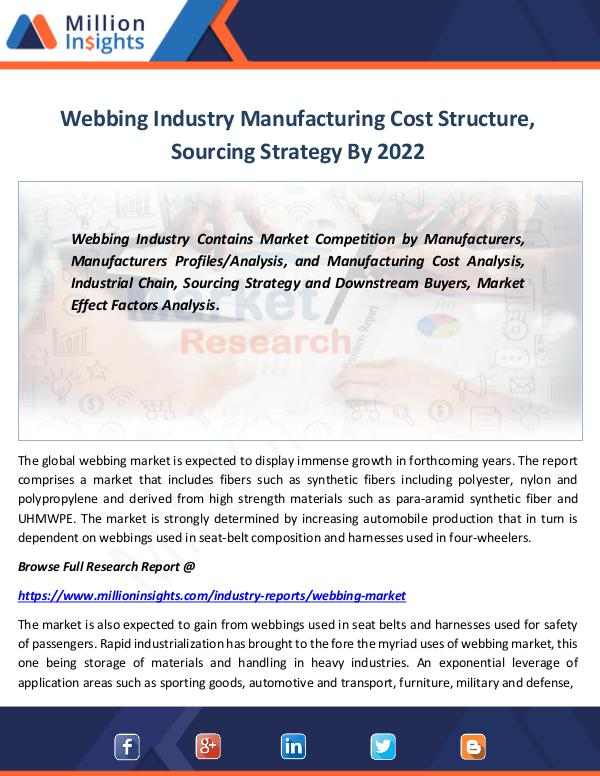 Market Revenue Webbing Industry Manufacturing Cost Structure 2022