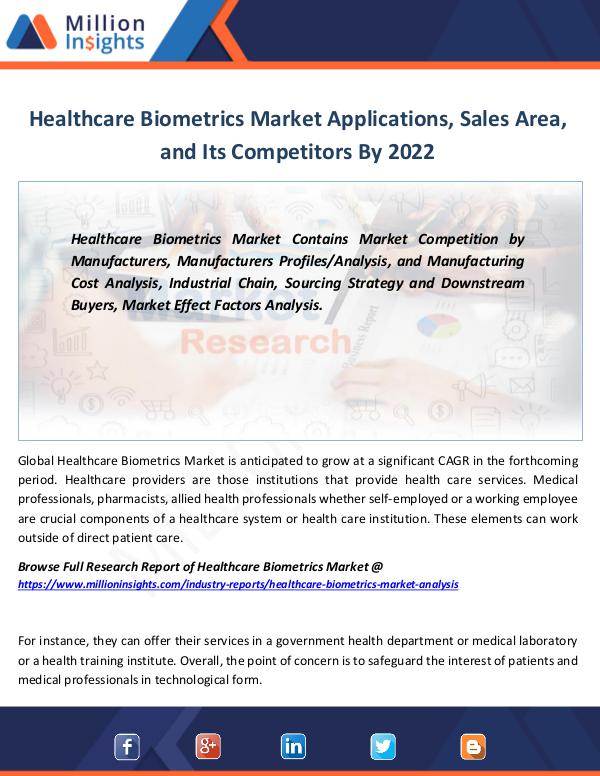 Market Revenue Healthcare Biometrics Market Applications, Sales