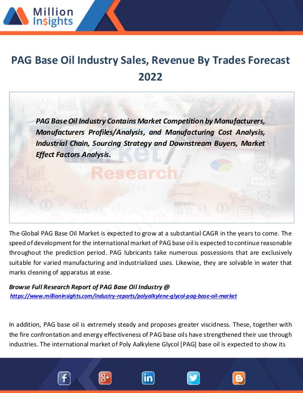 PAG Base Oil Industry Sales, Revenue By Trades