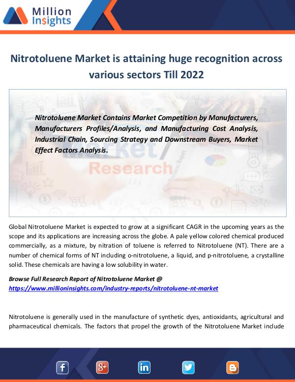 Nitrotoluene Market is attaining huge recognition