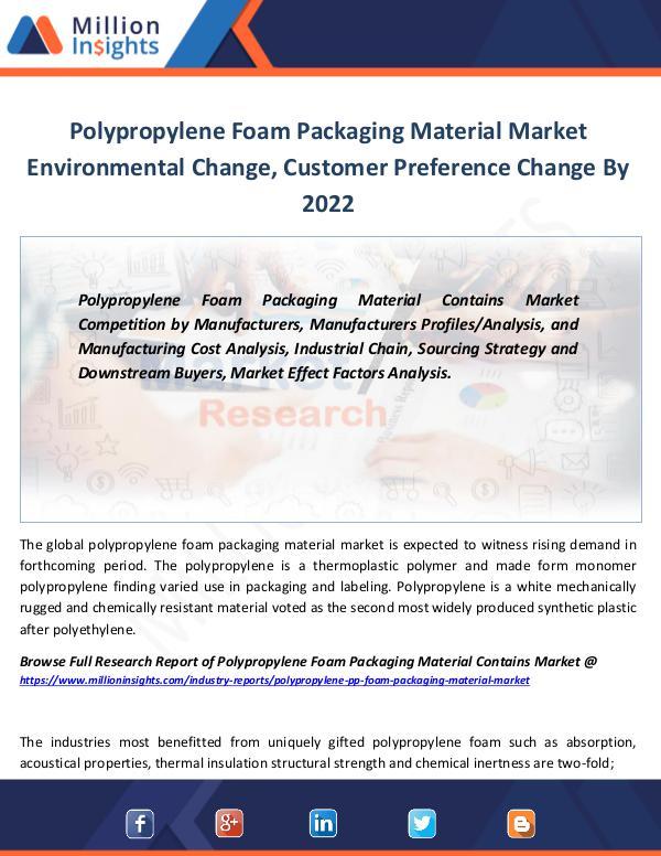 Polypropylene Foam Packaging Material Market 2022