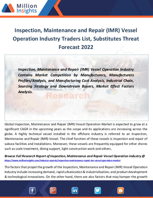 Inspection, Maintenance and Repair (IMR) Vessel