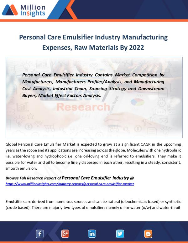 Personal Care Emulsifier Industry Forecast 2022