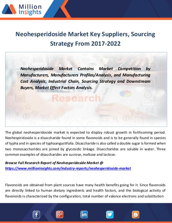 Neohesperidoside Market Key Suppliers By 2022