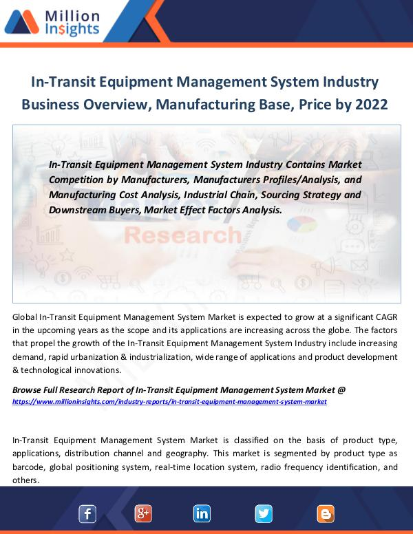 In-Transit Equipment Management System Industry