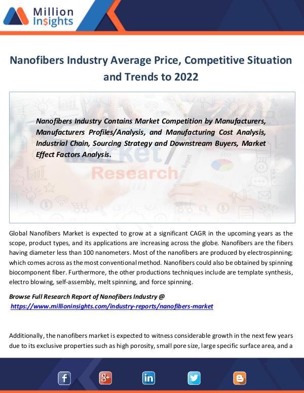 Market Revenue Nanofibers Industry Average Price Forecast 2022