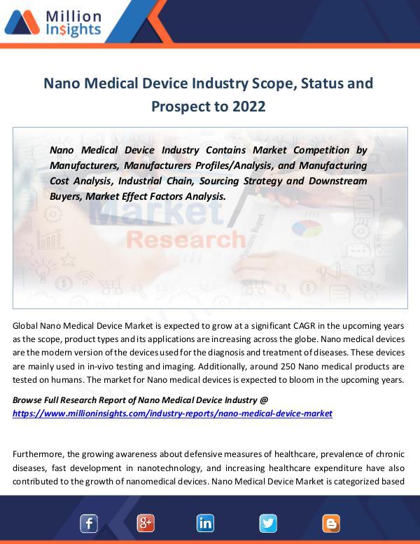 Nano Medical Device Industry Scope, Status 2022