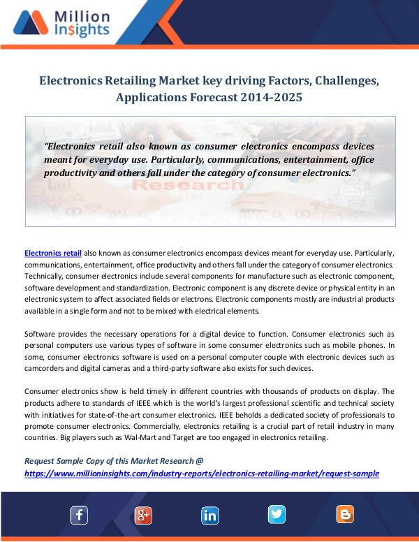 Market Revenue Electronics Retailing Market key driving Factors