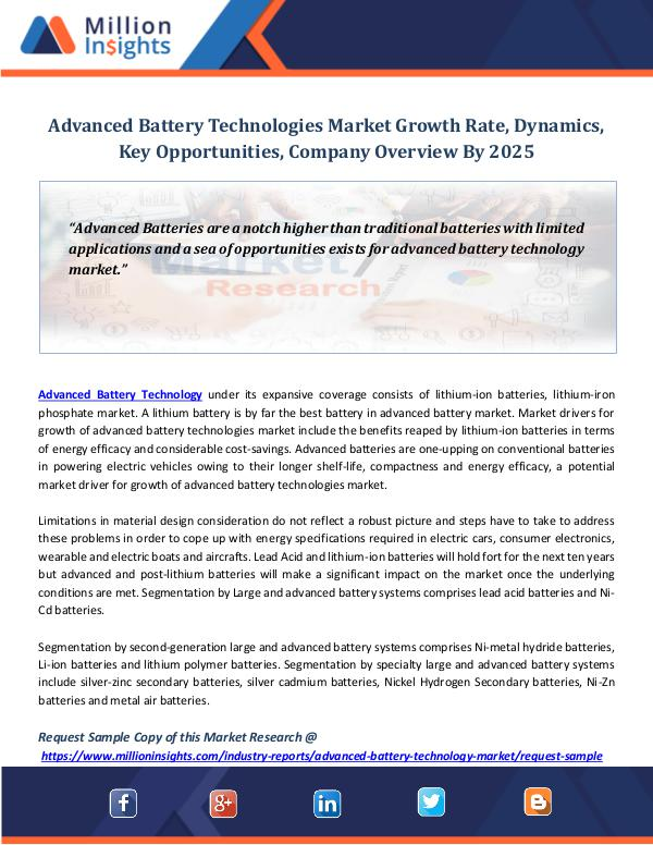 Market Revenue Advanced Battery Technologies Market Growth Rate