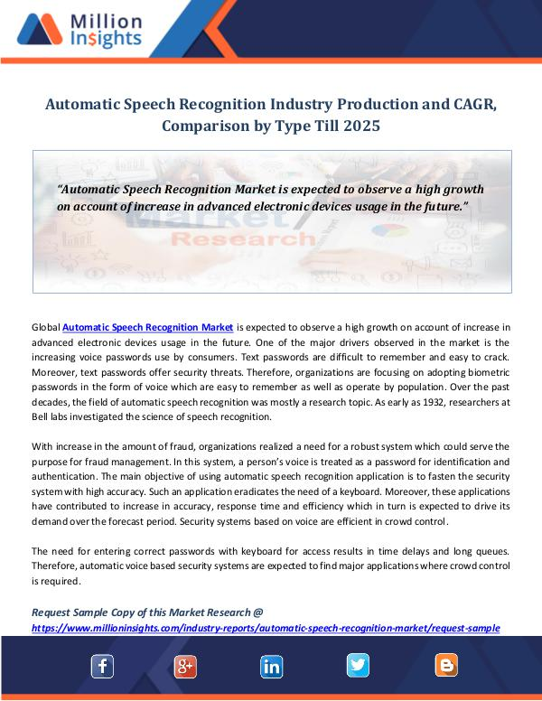 Automatic Speech Recognition Industry Production