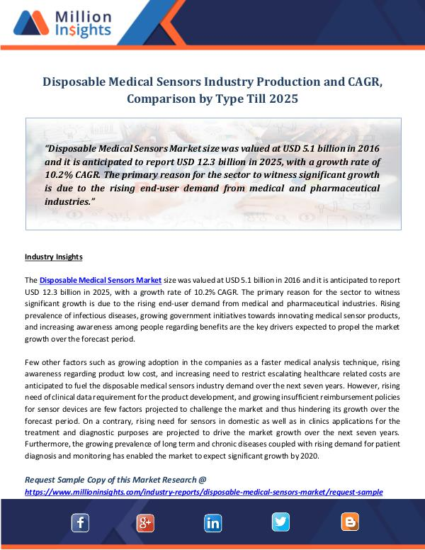 Disposable Medical Sensors Industry Production