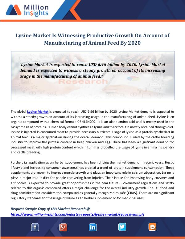 Lysine Market Is Witnessing Productive Growth