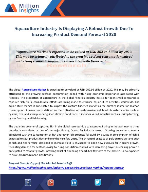 Aquaculture Industry Is Displaying A Robust Growth