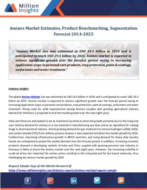 Market Revenue Amines Market Estimates, Product Benchmarking