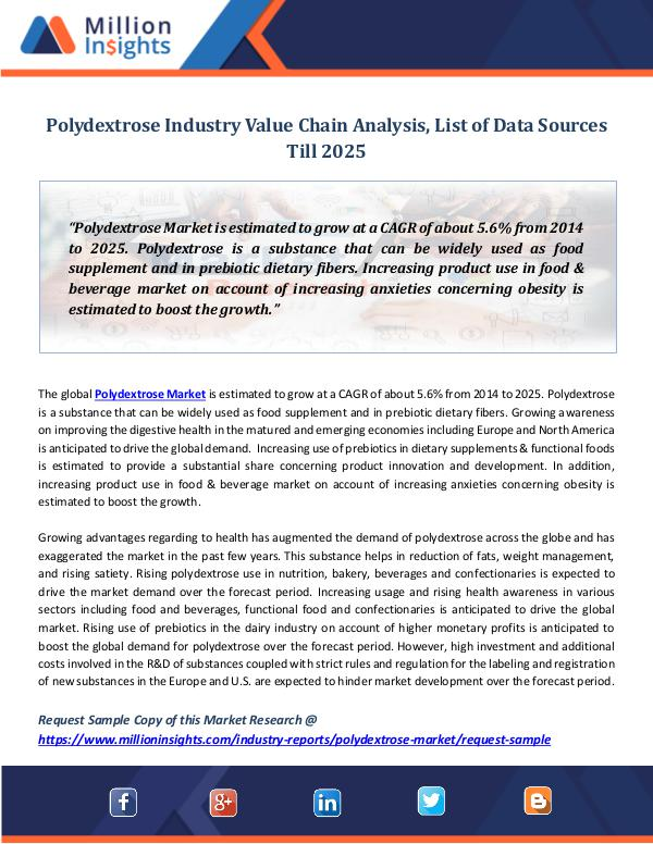 Market Revenue Polydextrose Industry Value Chain Analysis