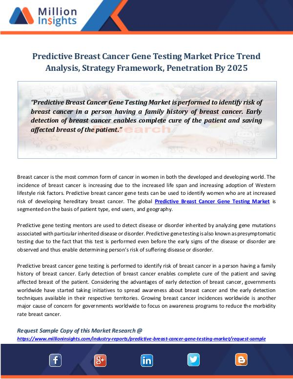 Predictive Breast Cancer Gene Testing Market Price