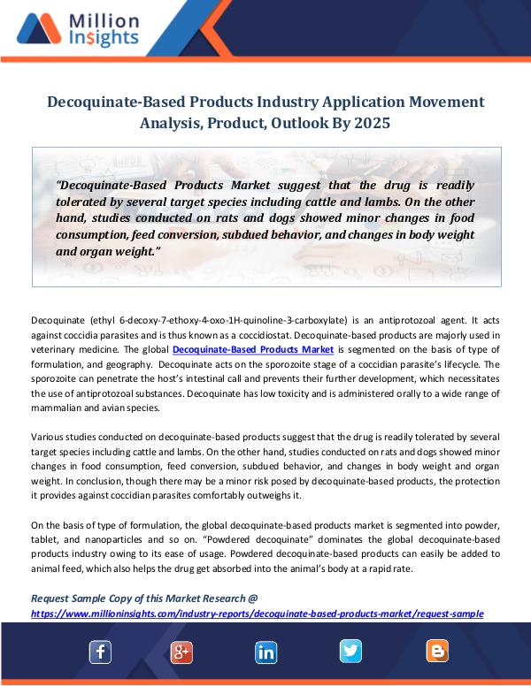 Decoquinate-Based Products Industry Application