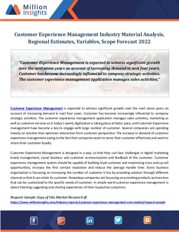 Market Revenue Customer Experience Management Industry Material
