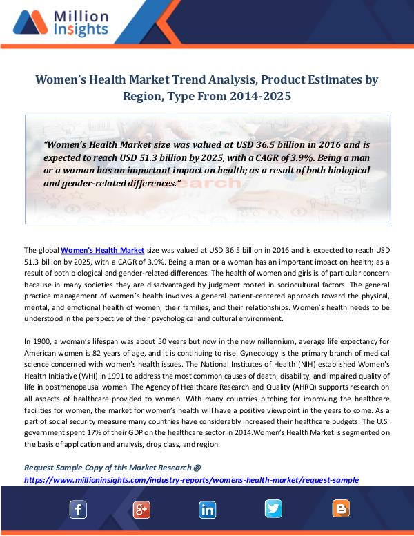 Women's Health Market Trend Analysis, Product