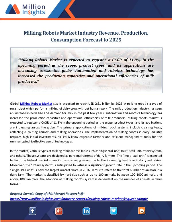 Milking Robots Market Industry Revenue, Production
