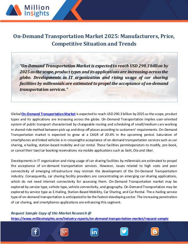 Market Revenue On-Demand Transportation Market 2025 Manufacturers