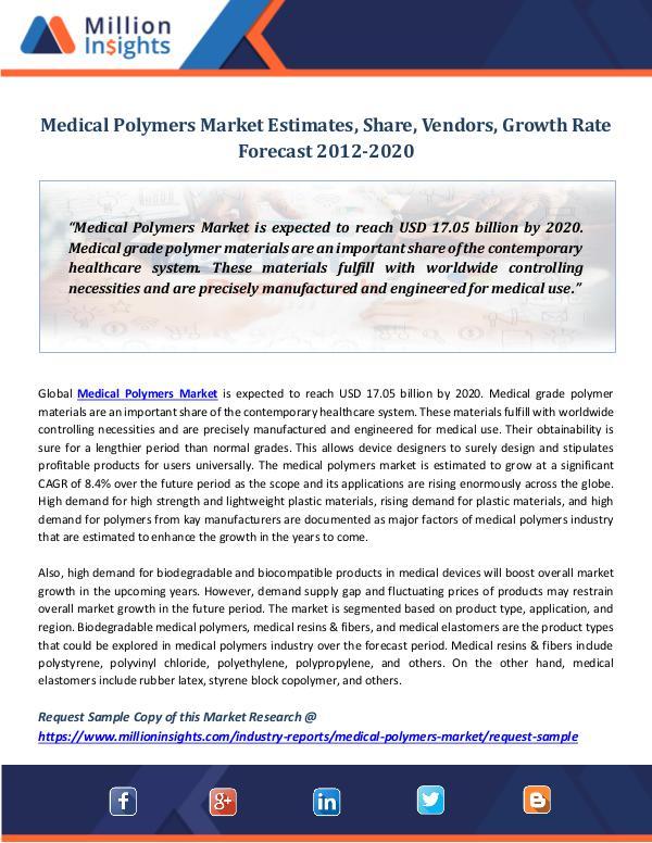 Medical Polymers Market Estimates, Share, Vendors