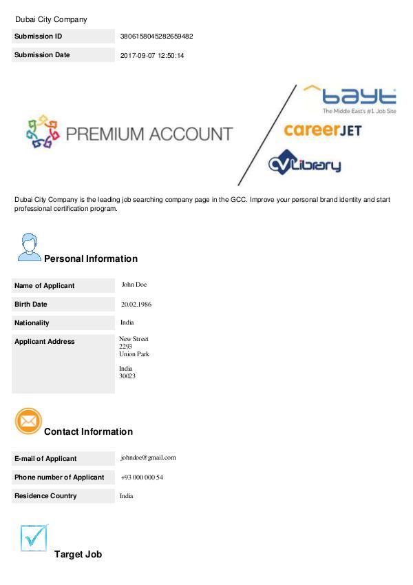 Dubai City Company - Premium Registration John Doe Dubai City Company