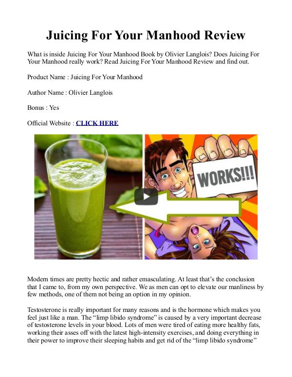 juicing for your manhood pdf recipes book free download juicing