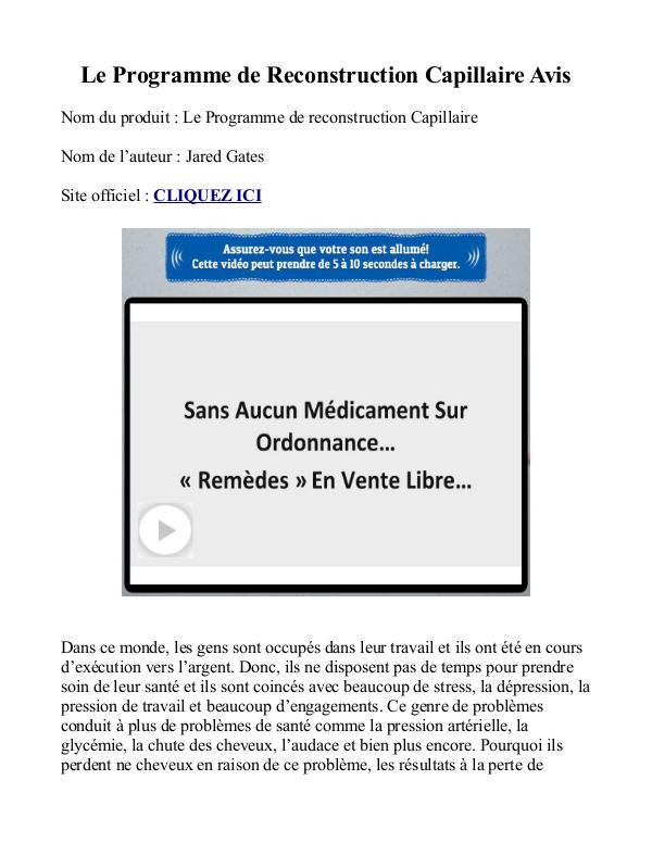Le Programme de Reconstruction Capillaire - 48 de RABAIS PDF Gratuit Jared Gates Avis Livre Télécharger