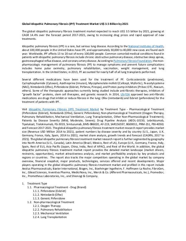 Report Idiopathic Pulmonary Fibrosis Treatment Market