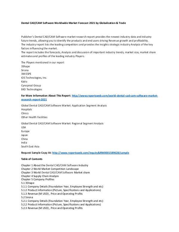 Market Research Update World Dental CAD CAM Software Market