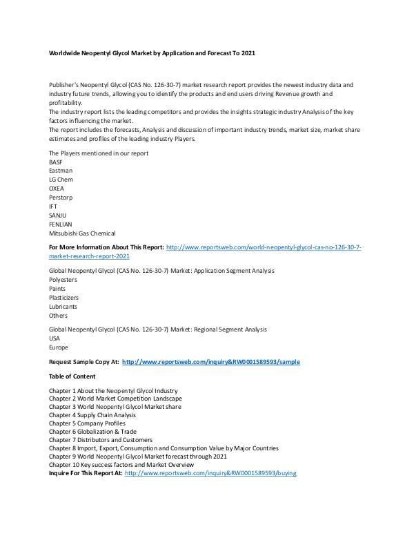 World Neopentyl Glycol (CAS No. 126-30-7) Market R