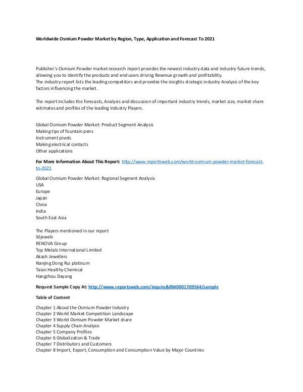 Market Research Update World Osmium Powder Market Forecast to 2021