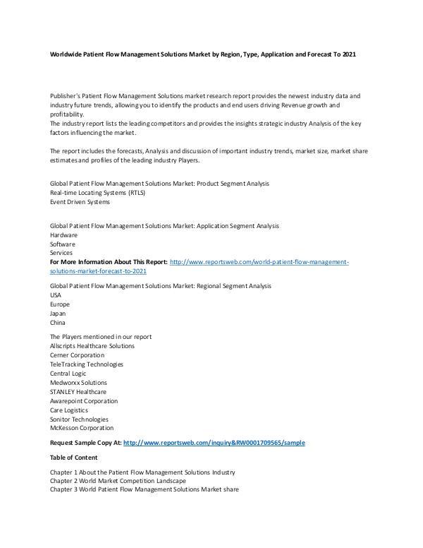 Market Research Update World Patient Flow Management Solutions Market For