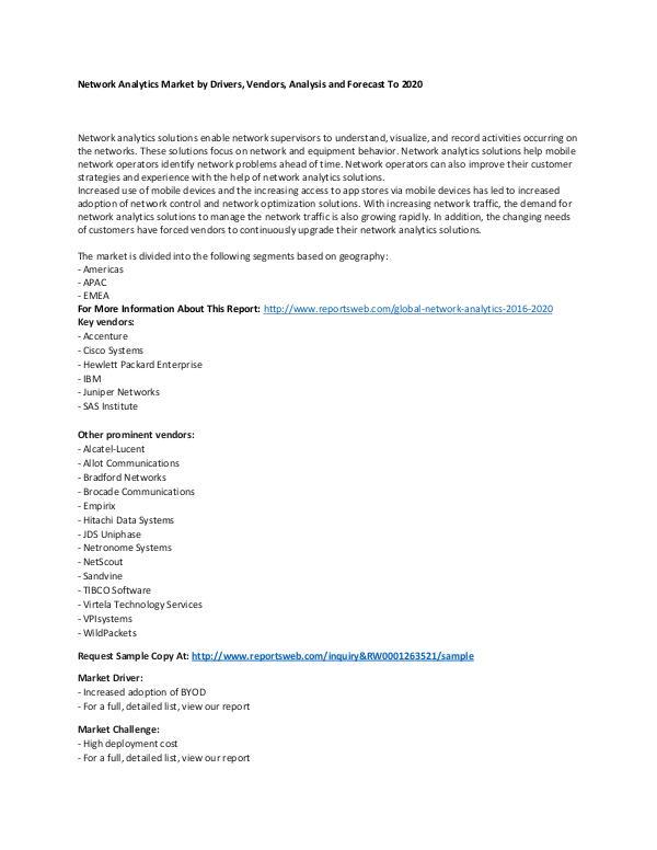 Global Network Analytics Market 2016-2020