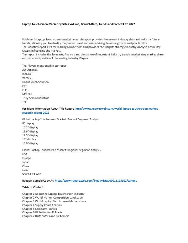 Market Research Update World Laptop Touchscreen Market Research Report 20