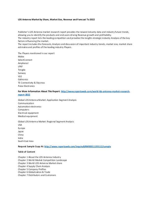 Market Research Update World LDS Antenna Market Research Report 2022