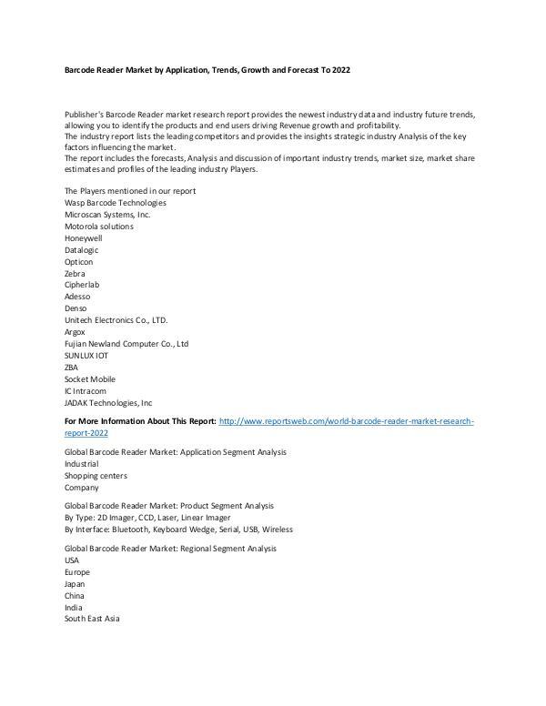 World Barcode Reader Market Research Report 2022