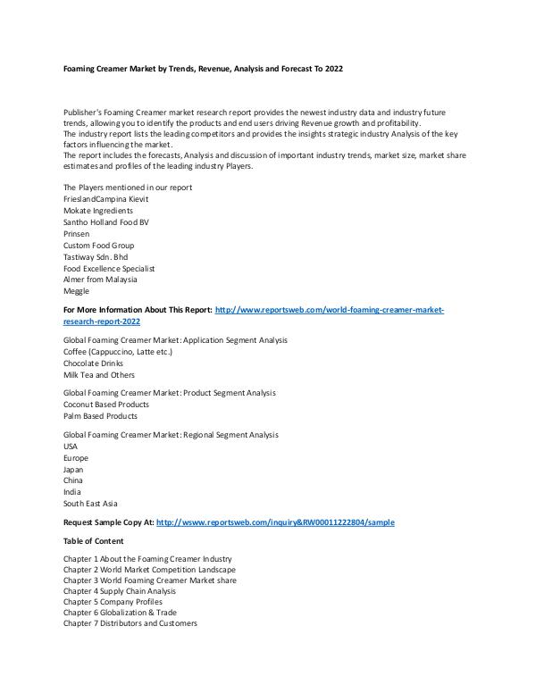 Market Research Update World Foaming Creamer Market Research Report 2022