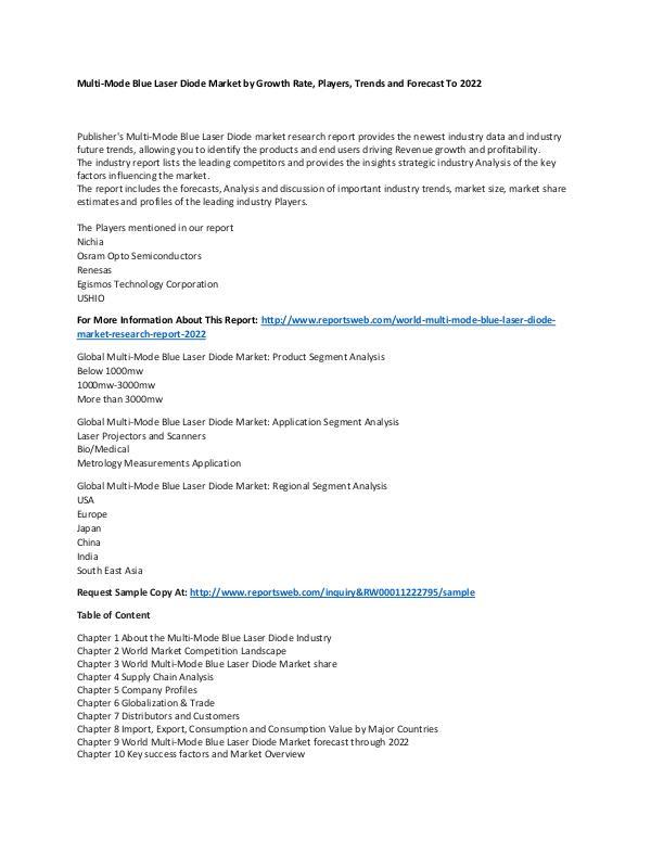 Market Research Update World Multi-Mode Blue Laser Diode Market Research