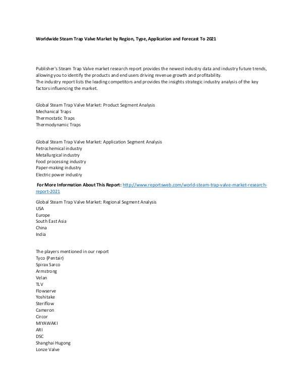 World Steam Trap Valve Market Research Report 2021