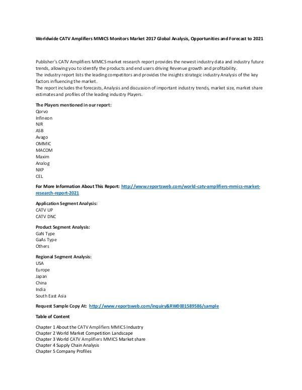 Market Research Update World CATV Amplifiers MMICS Market Research Report