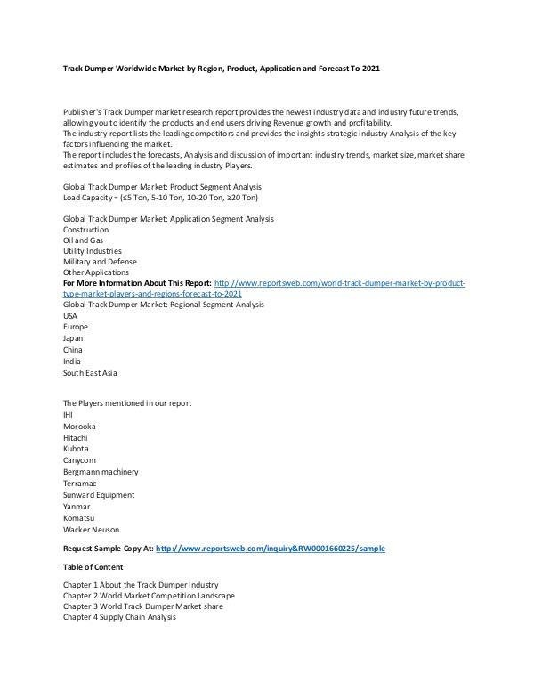 Market Research Update World Track Dumper Market by Product Type, Market,