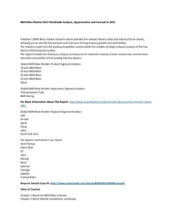 World BMX Bikes Market Research Report 2021