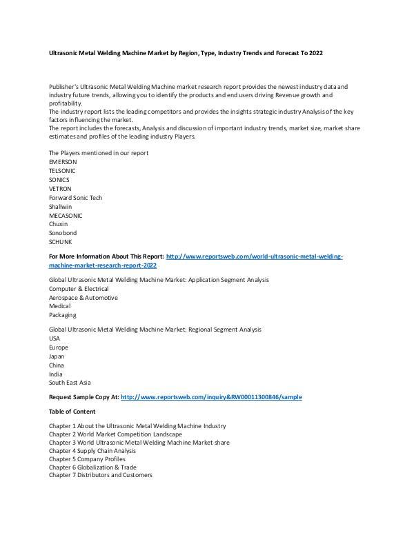 Market Research Update World Ultrasonic Metal Welding Machine Market Rese