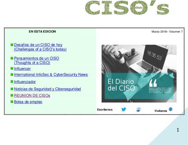 El Diario del CISO (The CISO Journal) Volumen 7 2018
