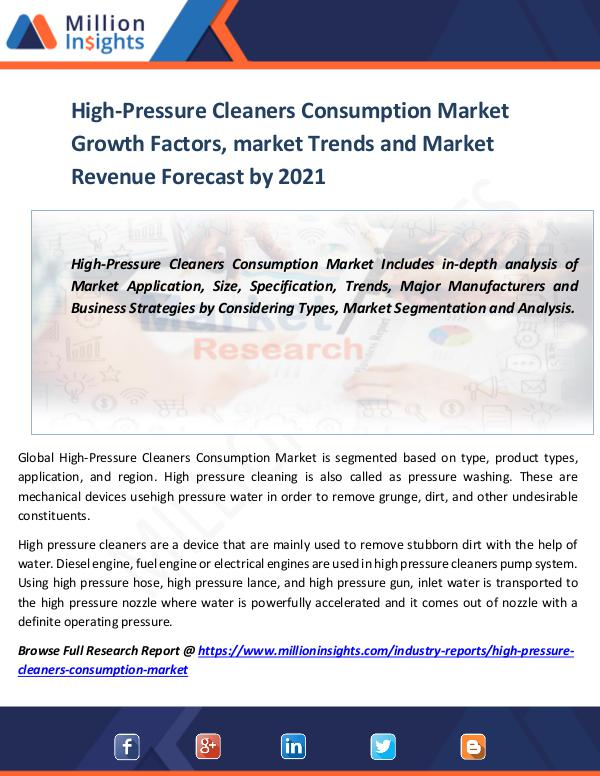 High-Pressure Cleaners Consumption Market