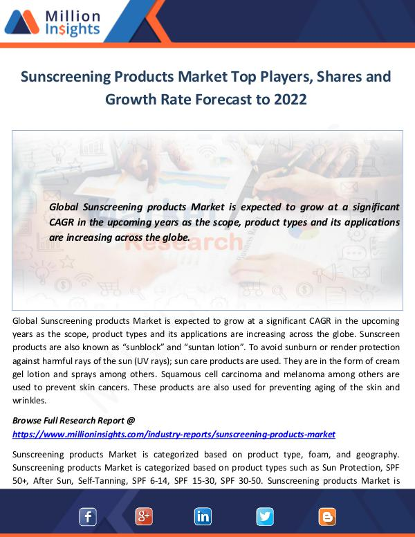 Market World Sunscreening Products Market Top Players