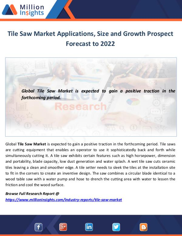 Tile Saw Market Size